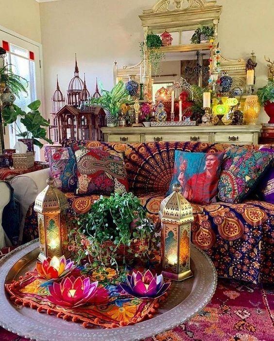 Sala de estar com decoração árabe