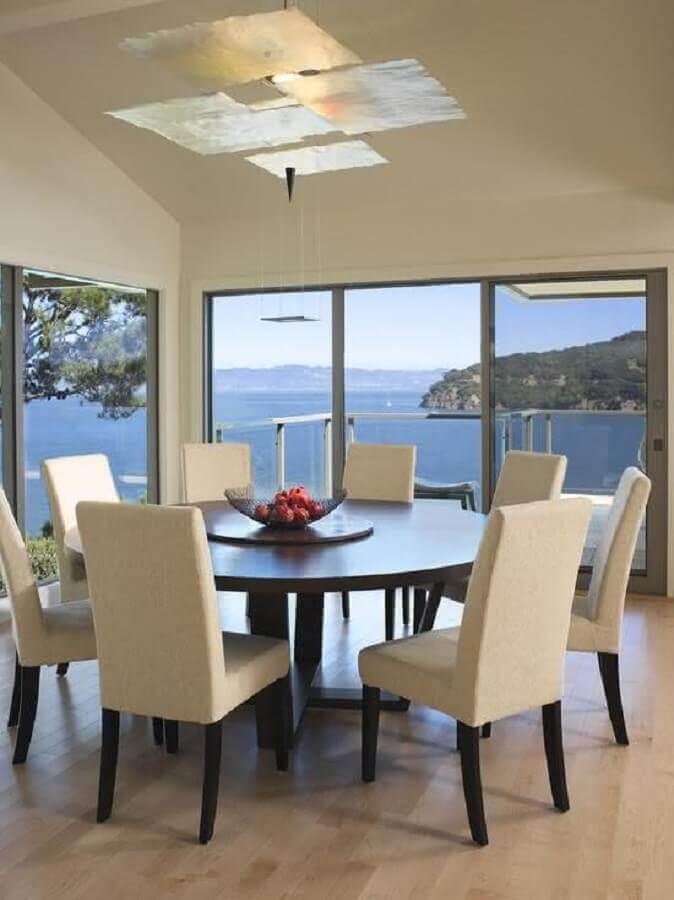 sala de jantar decorada com mesa de jantar redonda giratória grande Foto Pinterest