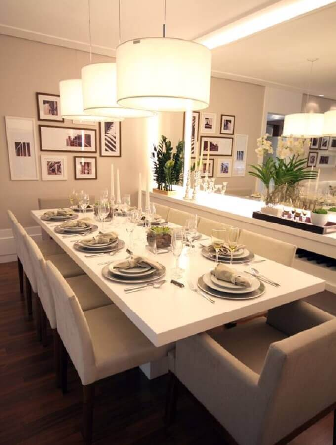 sala de jantar decorada com paleta cores nude Foto Casa Très Chic
