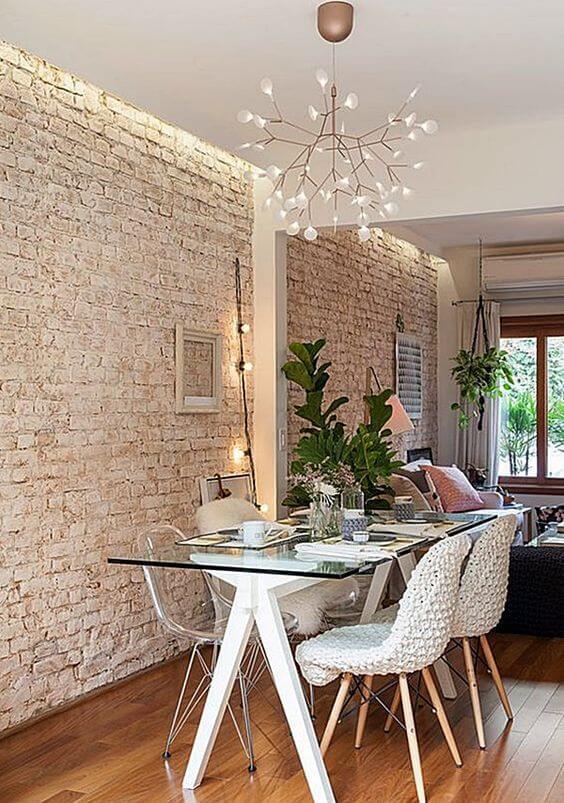 O tijolinho a vista branco é uma ótima opção para deixar o ambiente clean e moderno