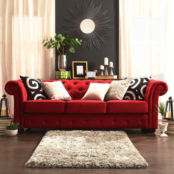 Aposte no sofá vermelho para sua casa moderno