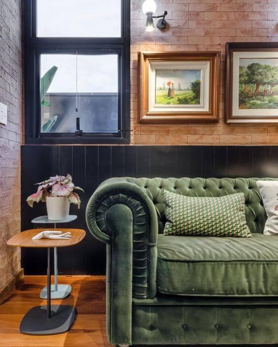 Sofá verde para sala moderna