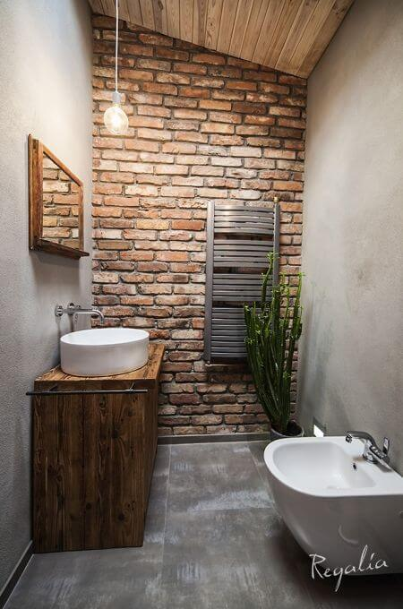 Lavabo moderno com tijolinho a vista
