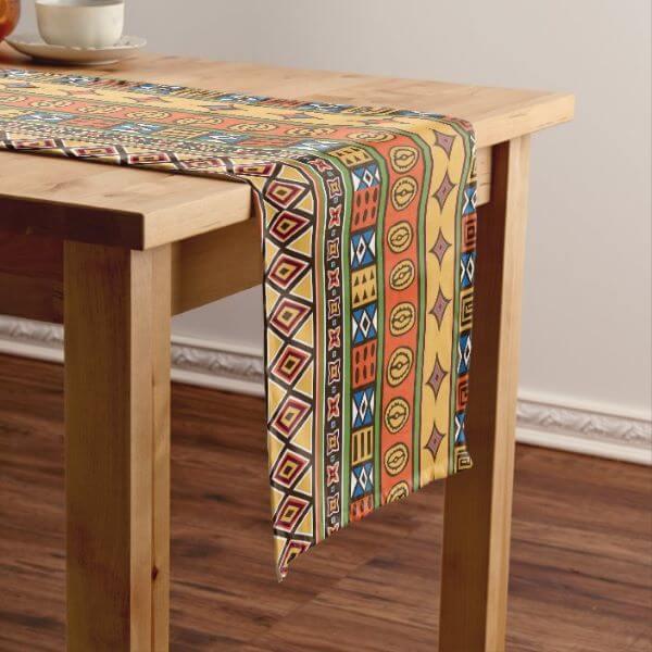 Caminho de mesa com estampas africanas etnicas