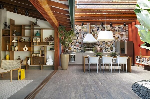 Área gourmet rústica moderna