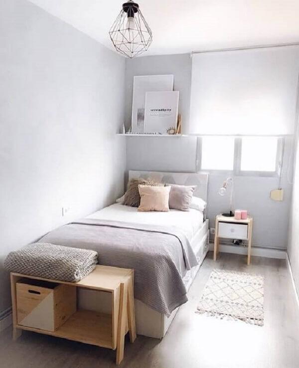 A cama box com baú solteiro é perfeita para otimizar espaço do quarto pequeno