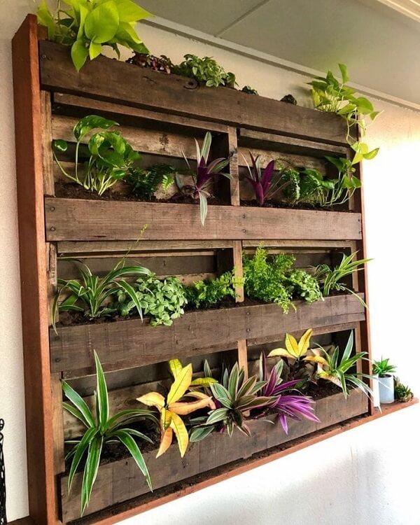Antes de fixar a floreira rústica na parede avalie quais plantas serão acomodadas na estrutura
