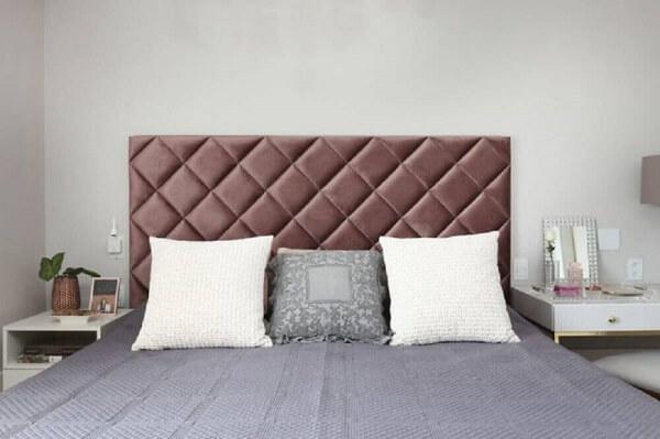 Cabeceira da cama de viúva estofada com veludo para quarto de casal