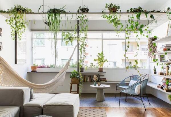 Combinação entre cadeira de corda e rede de descanso