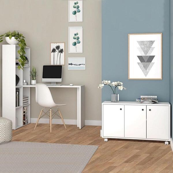 Conjunto de escritório com móveis em acabamento branco