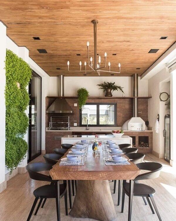Decoração charmosa para área gourmet rústica