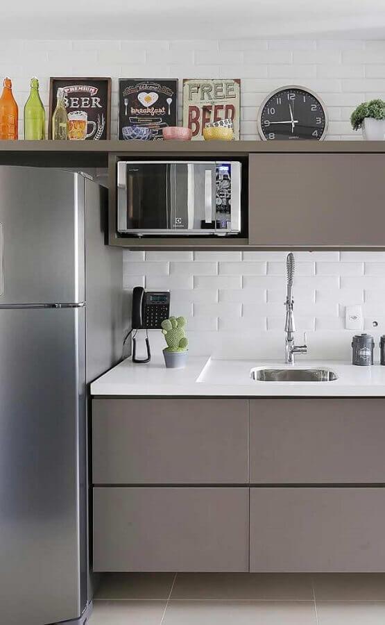 Decoração com quadros para cozinha cinza e branca Foto Quadro para Sala