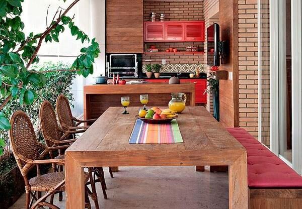 Decoração simples para área gourmet rústica