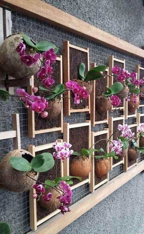 Floreira de parede de madeira repleta de orquídeas