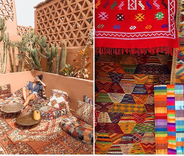 Os grafismos, abstrações e motivos floridos se destacam nas tramas dos tapetes marroquinos e almofadas