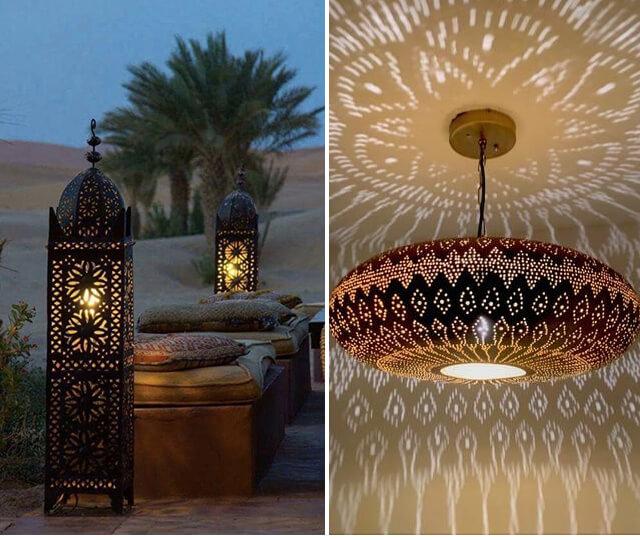 As lanternas fazem parte da decoração marroquina e transformam a iluminação dos ambientes