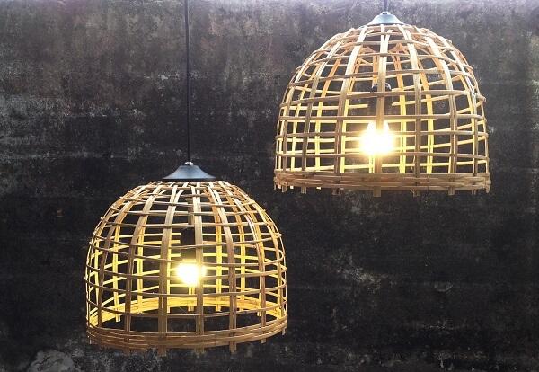 Luminária para área gourmet rústica feita com vime