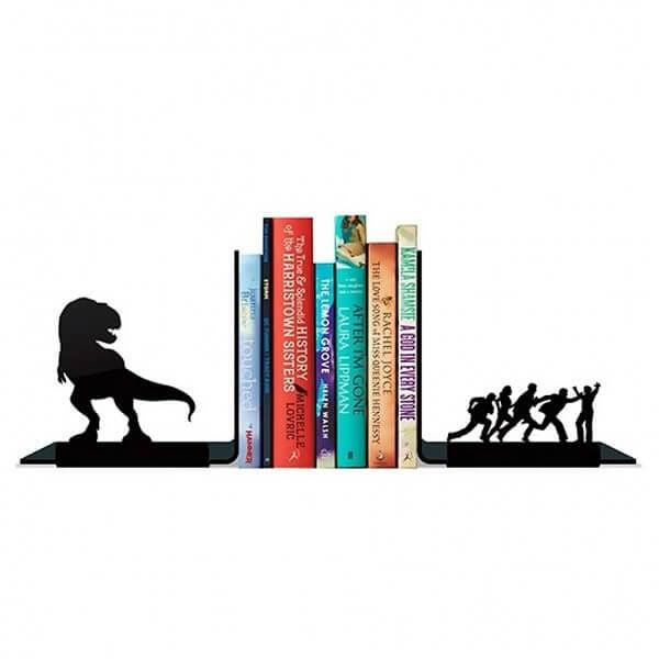 Modelo de suporte aparador de livros criativo com dinossauro