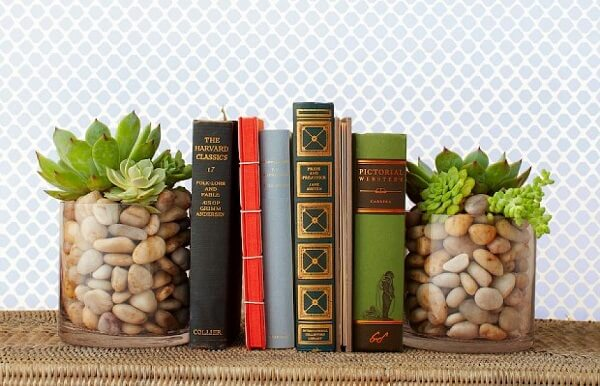 O copo de Whisky com plantinhas se transforma em um criativo aparador de livros para sala