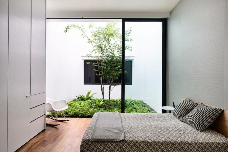 O jardim de inverno simples também promove um espaço de relaxamento no seu quarto