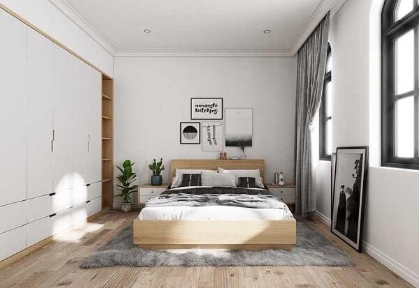 Para os que buscam por uma inspiração de quarto de casal, essa cama de viúva é uma ótima alternativa