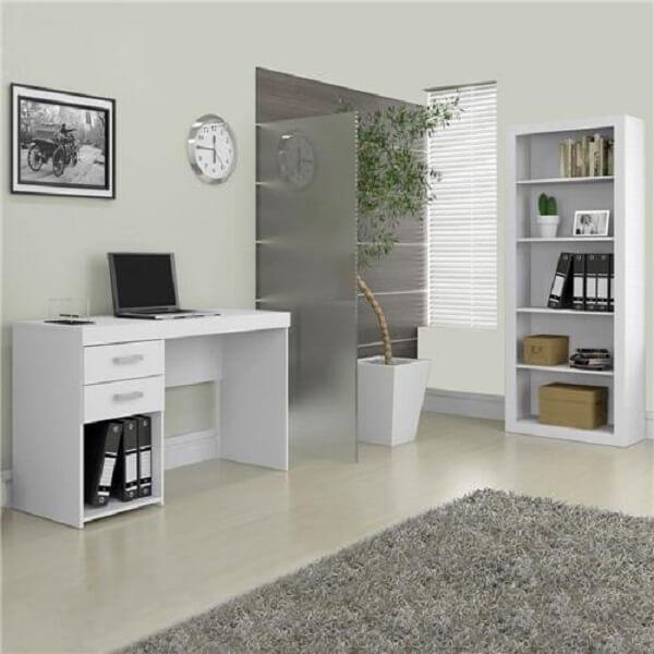 Para uma decoração clean invista em um conjunto de escritório branco