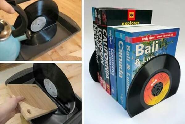 Passo a passo de como fazer aparador de livros com disco de vinil
