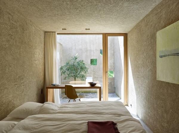 Projeto lindo de jardim de inverno no quarto simples