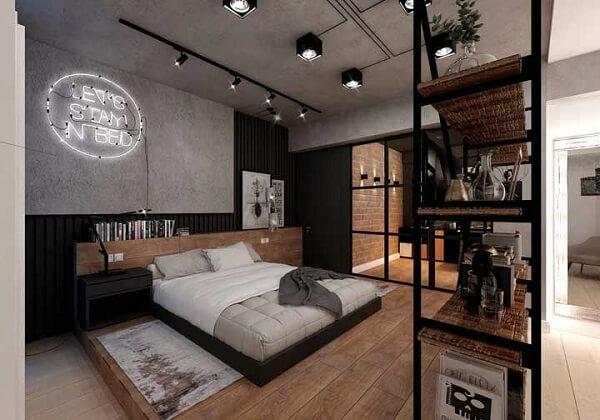Quarto moderno com cama de viúva para casal