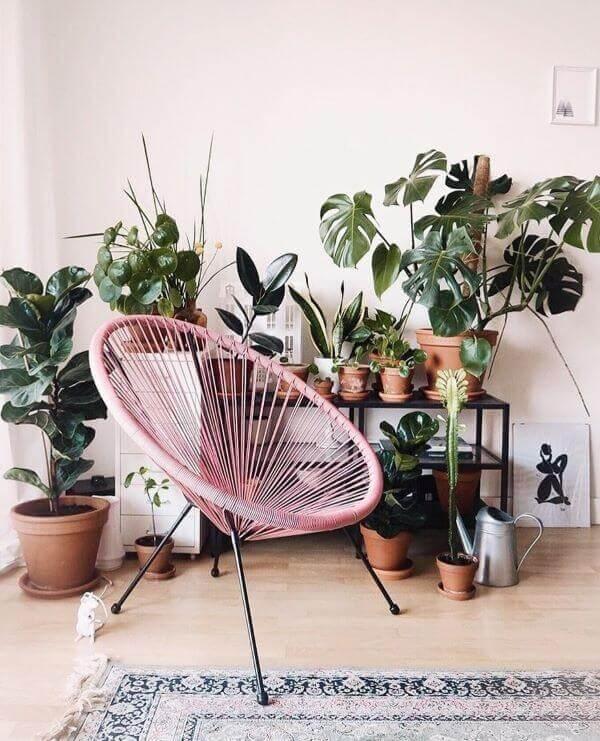 Reserve um espaço no ambiente para acomodar sua cadeira de corda de nylon