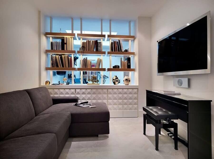 TV direto na parede de sala minimalista Foto Houzz