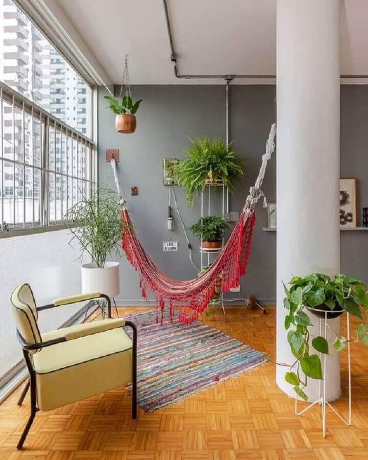 apartamento decorado com rede de descanso pequena Foto Pinterest