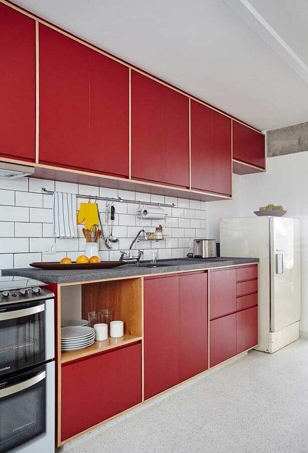 armário de cozinha sob medida vermelha Foto Ideias Decor