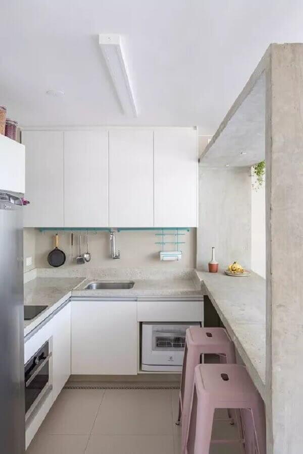 armários brancos para cozinha sob medida de canto Foto Pinterest