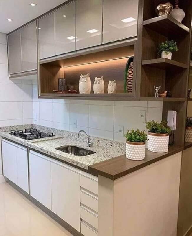 bancada de granito para cozinha pequena sob medida Foto Pinterest