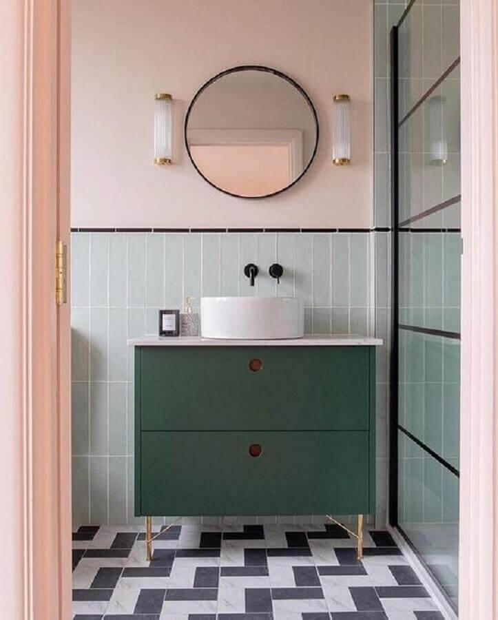 banheiro retrô estilo retrô decorado com espelho redondo para banheiro Foto Pinterest