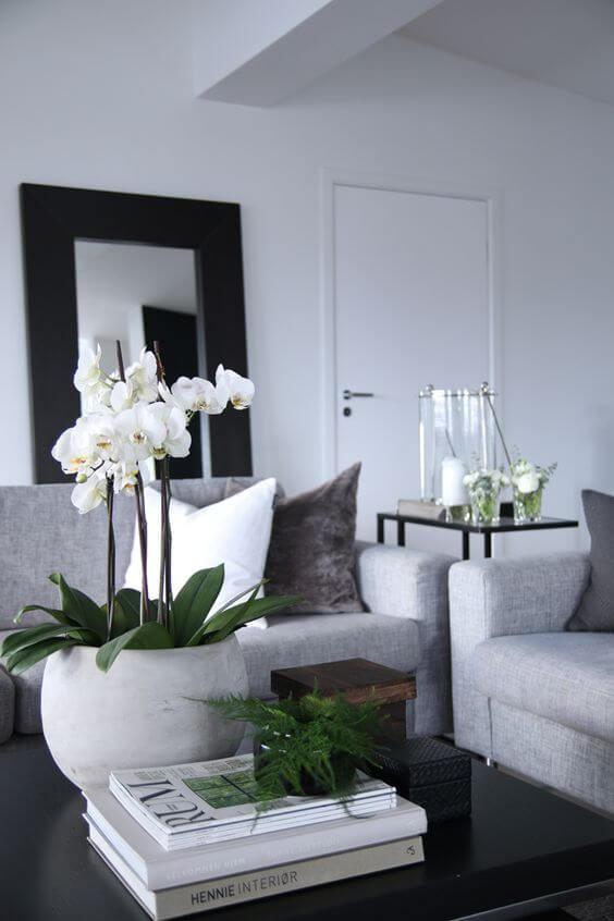 Centro de mesa orquídea branca