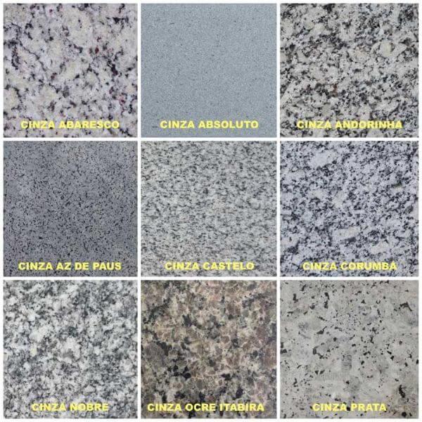 Cores de granito cinza