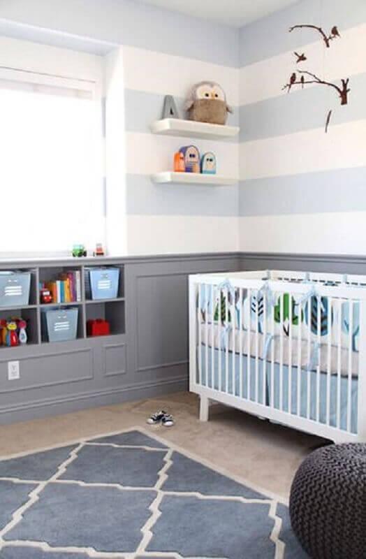 cores para quarto de bebê masculino cinza azul e branco Foto Simples Decoração