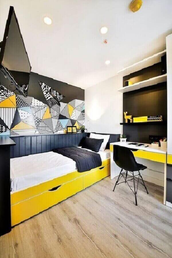 cores para quarto masculino jovem branco amarelo e preto Foto Pinterest