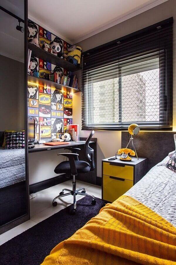 cores para quarto masculino jovem com criado mudo amarelo  Foto Futurist Architecture