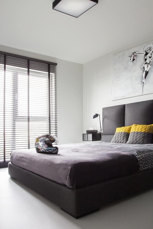 cores para quarto masculino minimalista cinza e branco Foto Decoist