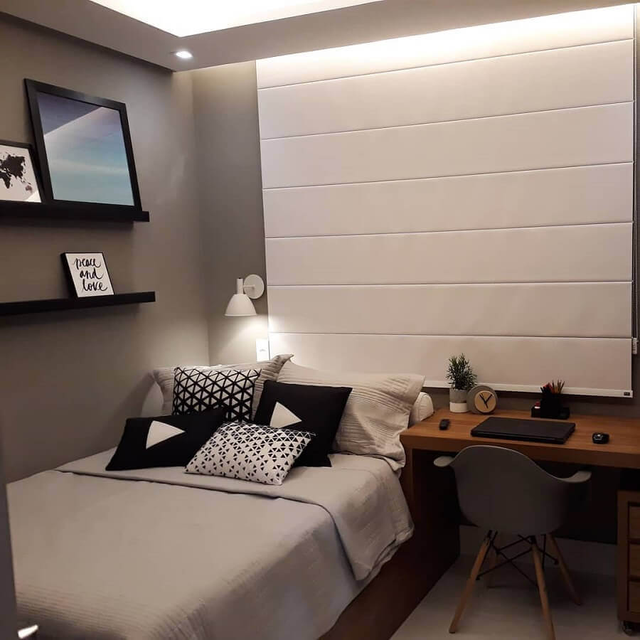 cores para quarto masculino pequeno com paredes cinza Foto Pinterest