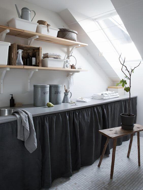 Cortina cinza chumbo para cozinha
