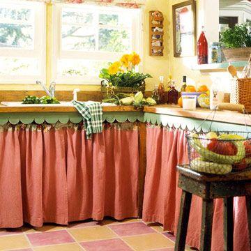 Cozinha para pia cor de rosa e colorida