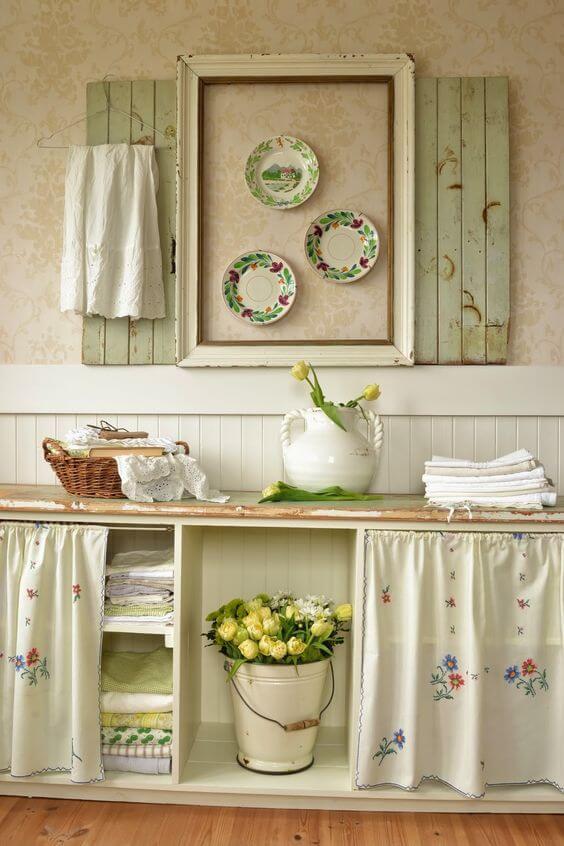 Cortina para pia da cozinha floral