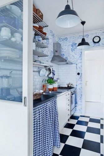Cortina para pia na cozinha azul
