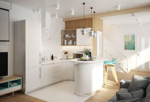 Cozinha americana branca