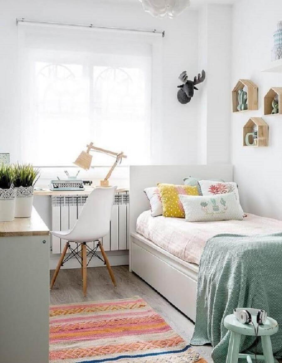 decoração clean com cama de solteiro para quarto branco Foto Jeito de Casa