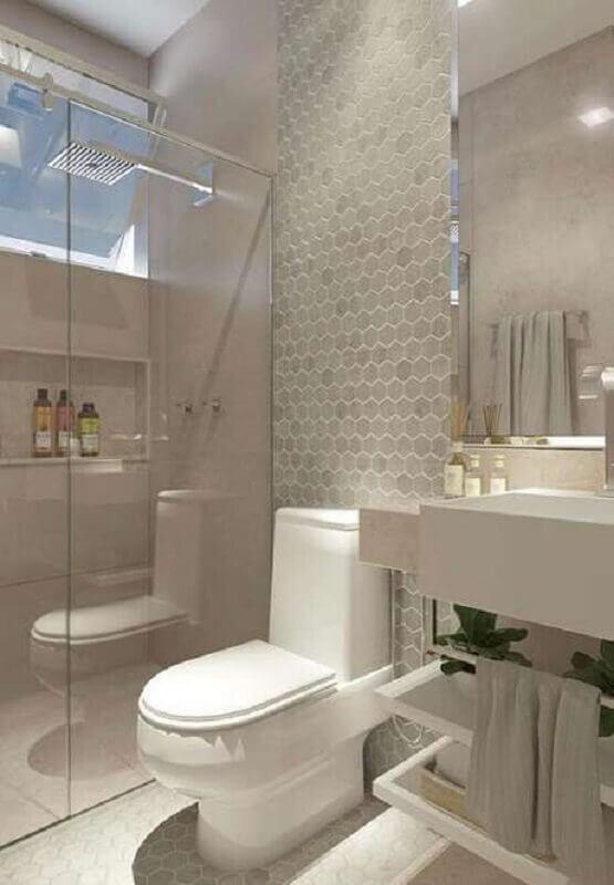 decoração clean com revestimento hexagonal banheiro cinza e branco  Foto Pinterest